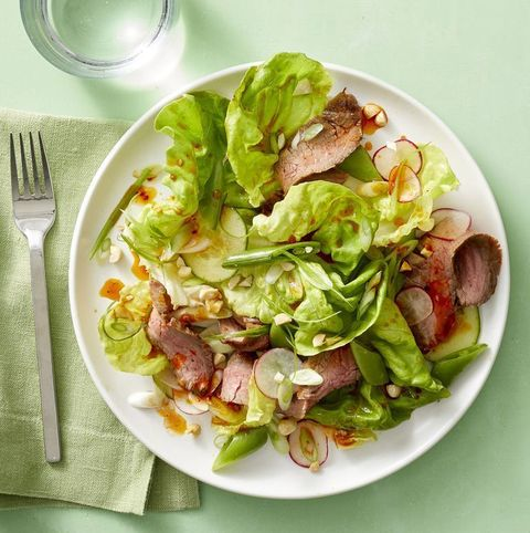 hearty salad recipes - Korean Steak Salad with Sugar Snaps and Radishes