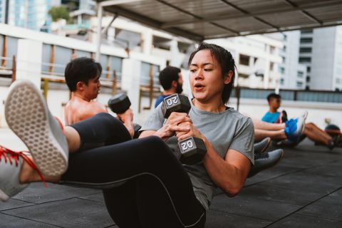 Korean woman on corss training