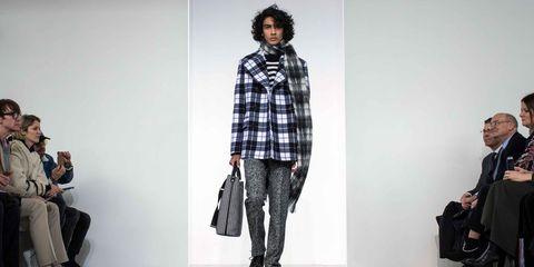 Plaid, Tartan, Clothing, Fashion, Pattern, Fashion model, Textile, Design, Runway, Outerwear,