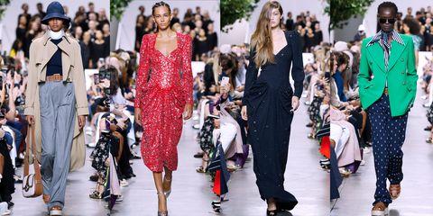 Fashion model, Fashion, Runway, Clothing, Fashion show, Street fashion, Shoulder, Haute couture, Footwear, Dress,
