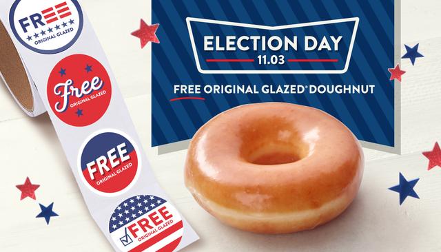 krispy kreme election day free donut and sticker 2020
