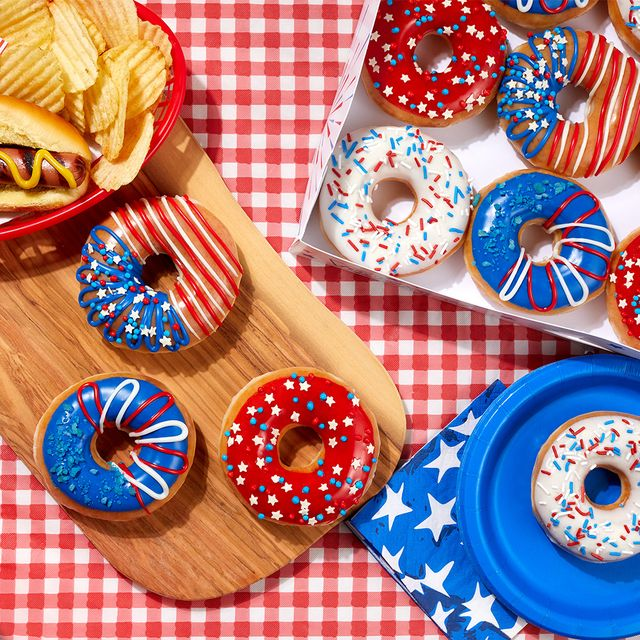 indoughpendence day red, white, and blue donuts from krispy kreme