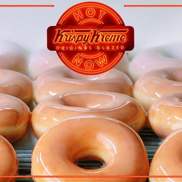 krispy kreme original glazed doughnuts hot light hours