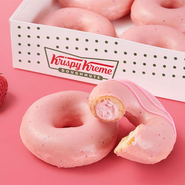 krispy kreme strawberry glazed and strawberry kreme filled doughnuts
