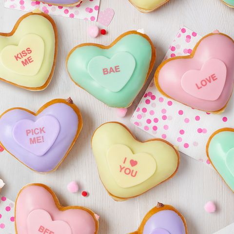 Heart, Pink, Sweethearts, Valentine's day, Sweetness, Icing, Food, Confectionery, Candy, Heart,