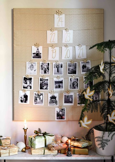 homemade christmas advent calendar with photographs