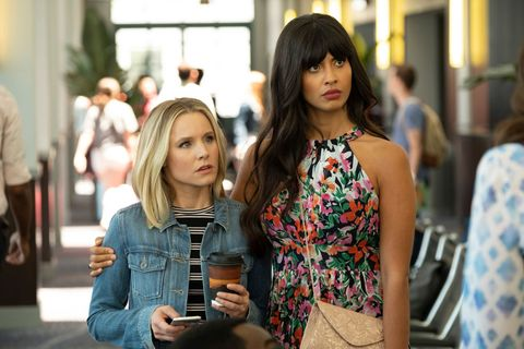 the good place    the ballad of donkey doug episode 306    pictured l r kristen bell as eleanor, jameela jamil as tahani    photo by colleen hayesnbcnbcu photo bank via getty images