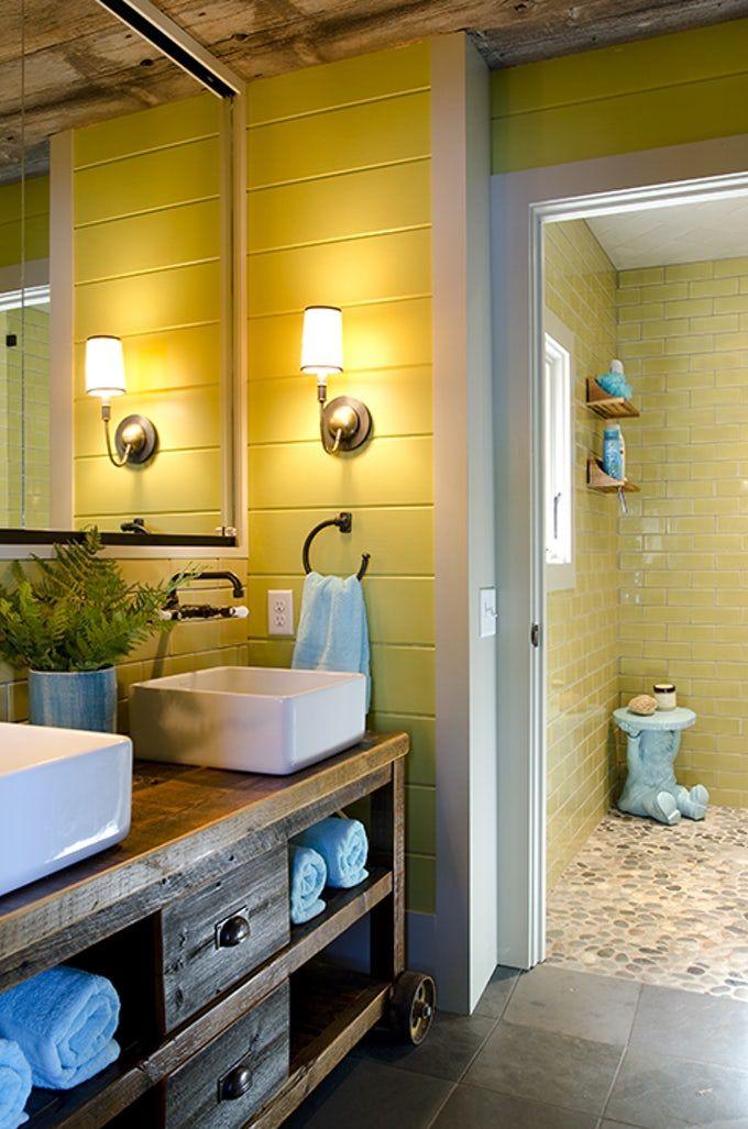 12 Cheerful Yellow Bathroom Decor Ideas, Teal And Yellow Bathroom Accessories