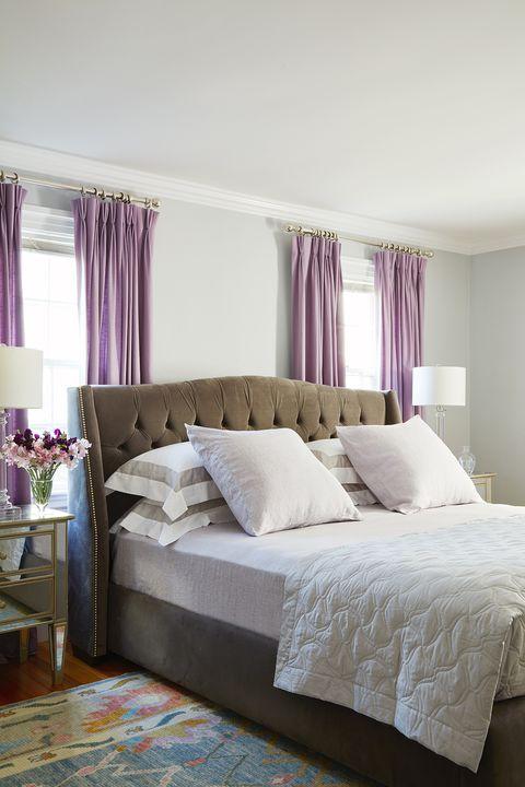 bedroom, purple curtains, grey bed