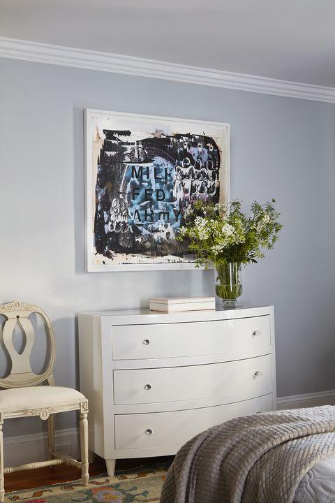 bedroom, white dresser, grey walls