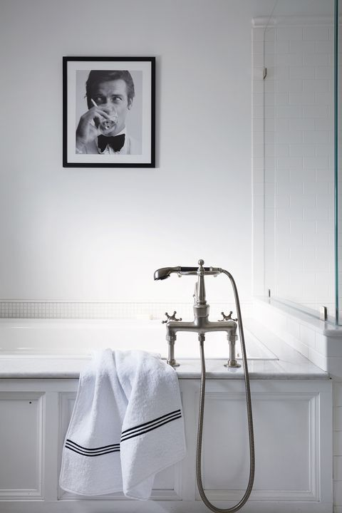 white bathroom, silver tap