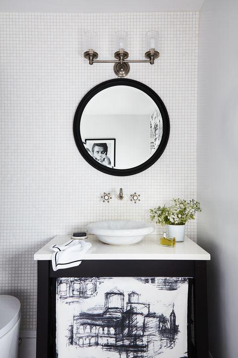 white bathroom, black cabinets