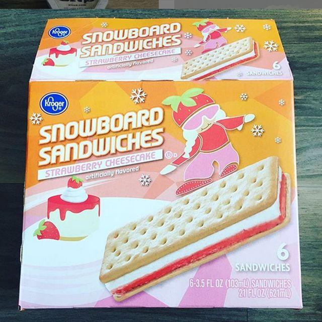 kroger strawberry cheesecake ice cream snowboard sandwiches