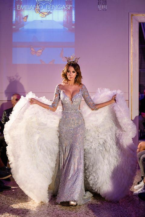 Gown, Dress, Clothing, Fashion, Haute couture, Purple, Beauty, Wedding dress, Fashion design, Fun,