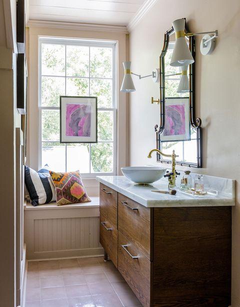 bathroom with window nook