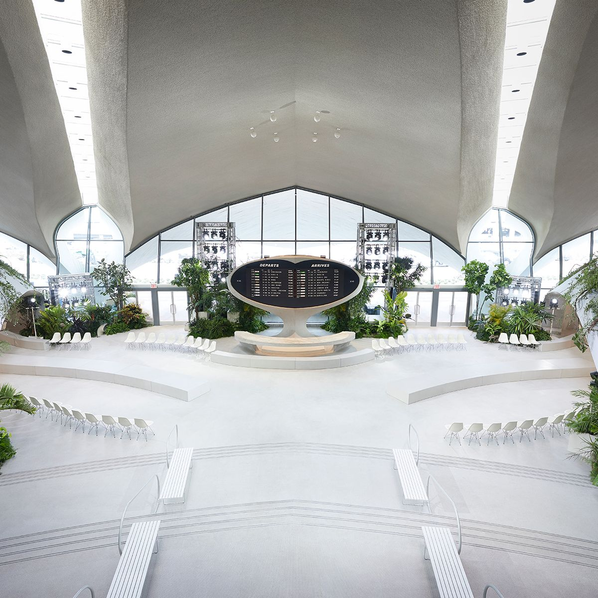 Eero Saarinen's architectural masterpiece is a testament to the public's enthusiasm for travel in the mid-20th century. Ghesquiere first landed here in the '90s and sought to revive the building's optimistic spirit.