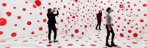 Red, Valentine's day, Love, Heart, Design, Pattern, Polka dot, Art,