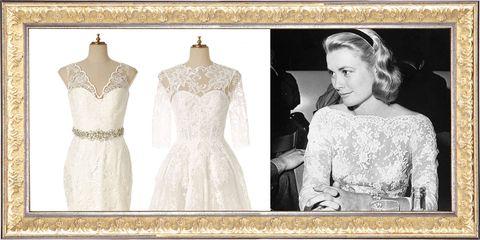 Clothing, Dress, Gown, Wedding dress, Shoulder, Bridal party dress, Neck, Lace, Bridal clothing, Fashion,