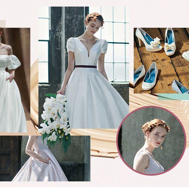 ウエディングドレスを着用したモデルのフォトコラージュ