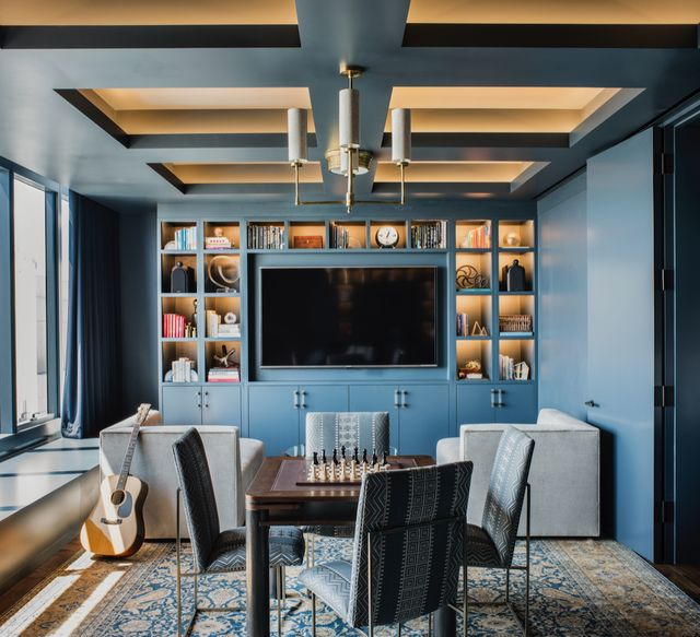 blue den with coffered ceiling