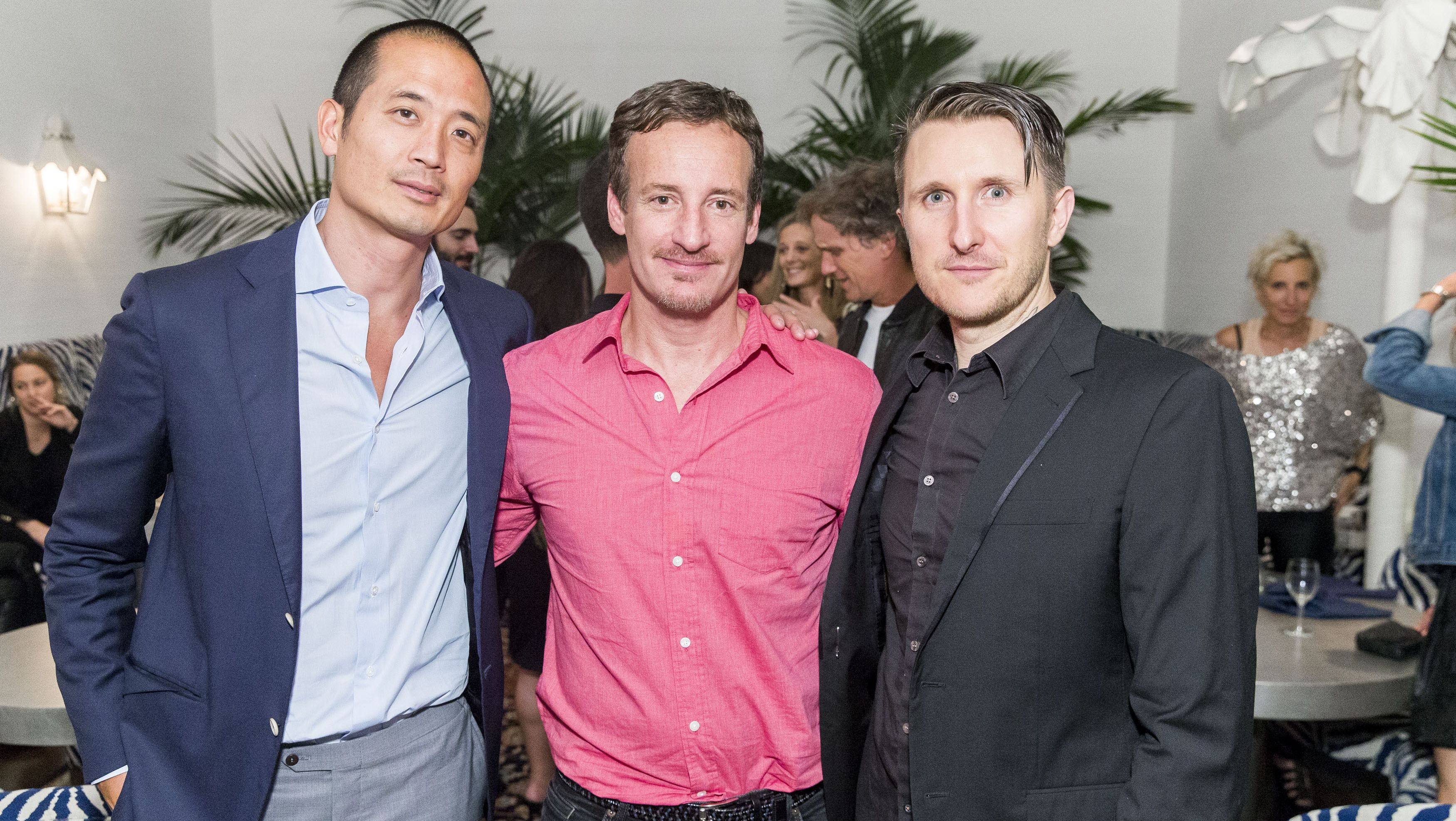 Todd Traina (center) joins Beboe co-founders Clement Kwan (left) and Scott Campbell (right) at a San Francisco launch party.