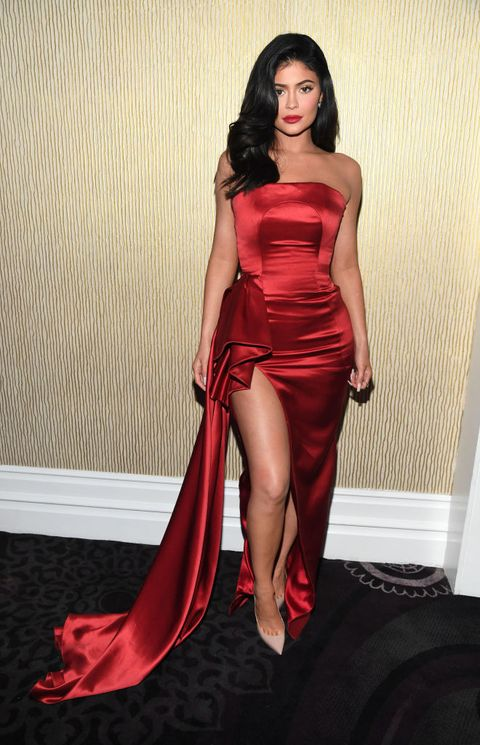4eea8c0085 Kylie Jenner Wore a Red Dress With a Thigh-High Slit Last Night and the  Look Is  Everything