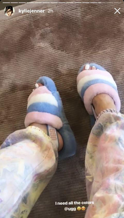 Kylie Jenner Wore UGG's Transgender Pride Flag Slippers Just After Pride Month Ends