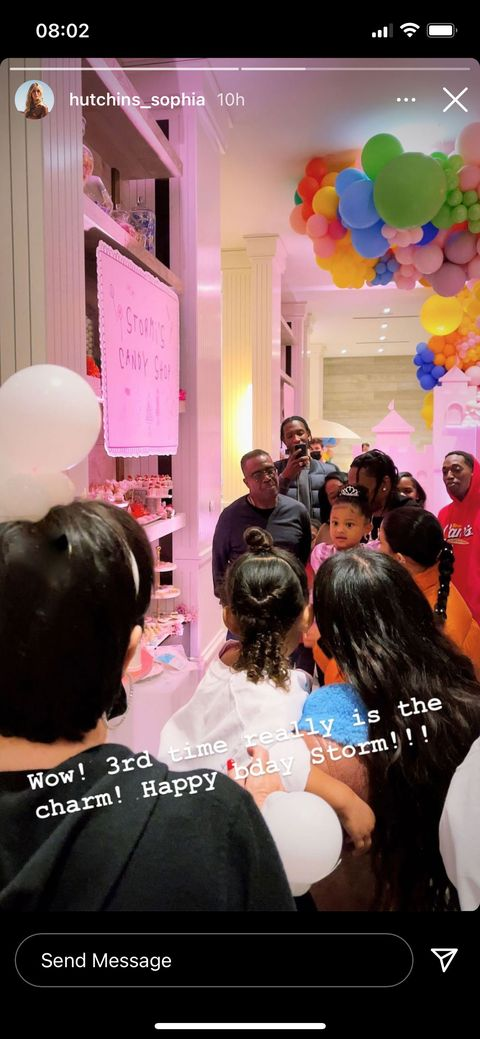 the people at stormi's third birthday party, not wearing masks