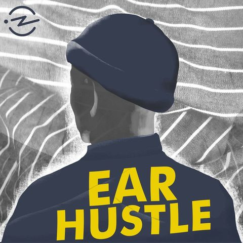 the podcast imagery for ear hustle shows a man from behind against a striped backdrop