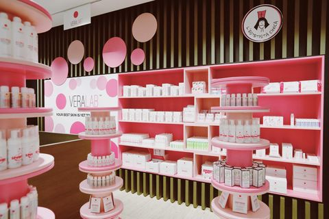 Pink, Product, Beauty, Interior design, Shelf, Room, Furniture, Building, Shelving, Cake decorating,