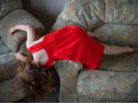 Human leg, Textile, Red, Wrist, Waist, Costume, Long hair, Living room, Velvet, Abdomen,