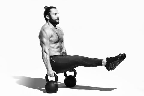 Weights, Kettlebell, Exercise equipment, Arm, Physical fitness, Shoulder, Muscle, Joint, Leg, Sitting,