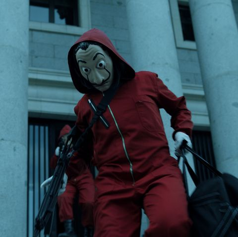 Red, Personal protective equipment, Outerwear, Headgear, Mask, Costume, Jacket, Fictional character,