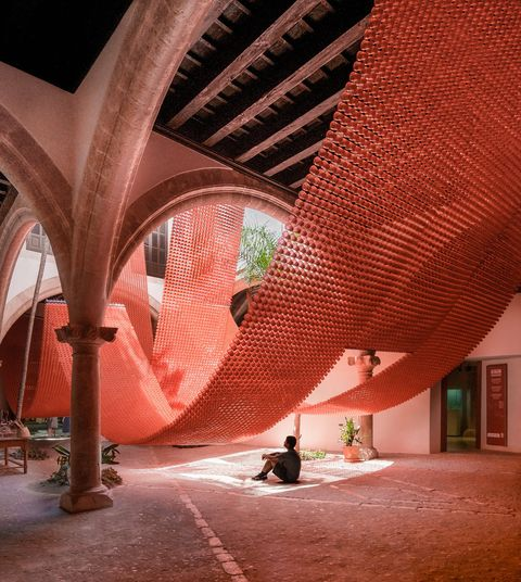 Red, Architecture, Building, Ceiling, Room, Arch, Interior design, House,