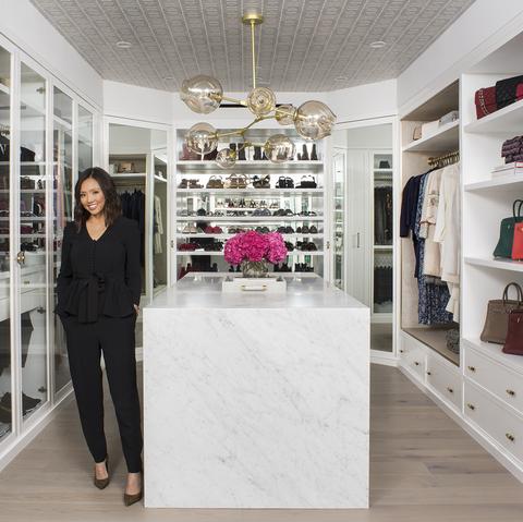 Closet, Room, Interior design, Building, Pink, Shelf, Furniture, Boutique, Footwear, Home,