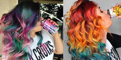 Hair, Hair coloring, Purple, Pink, Cool, Hairstyle, Dye, Magenta, Black hair, Red hair,