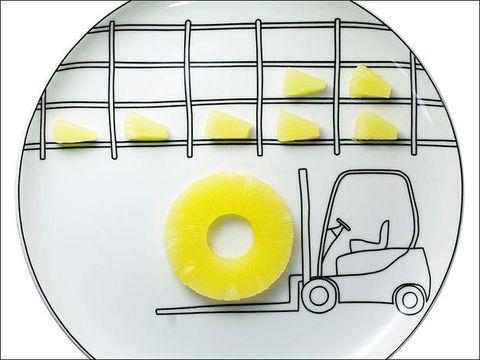 Yellow, Line, Parallel, Recipe, Circle, Rectangle, Automotive side-view mirror, Fruit, Kitchen utensil,