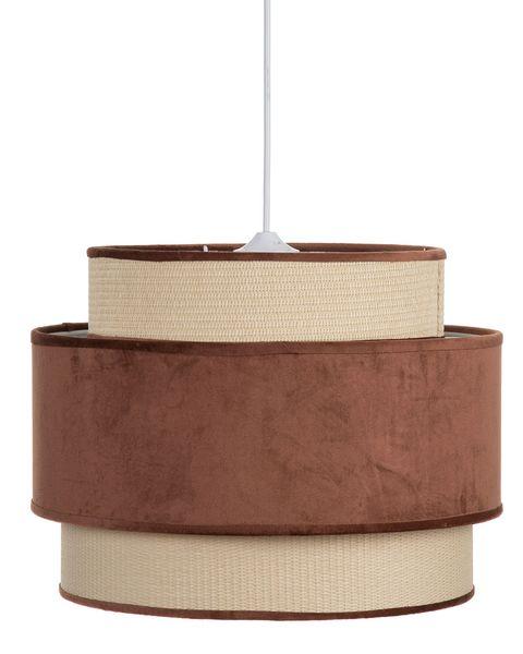 lámpara de techo de fibra y terciopelo marrón