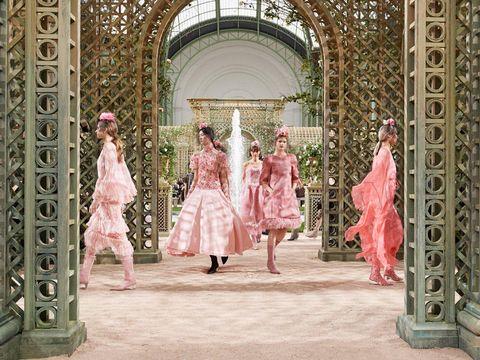 Fashion, Pink, Dress, Haute couture, Event, Architecture, Fashion design, Peach, Building,