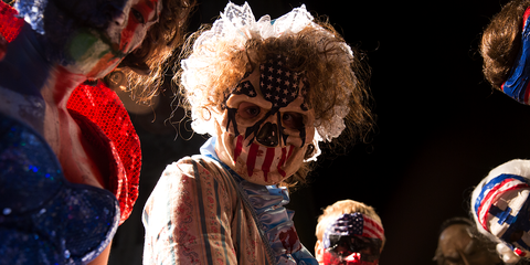 zombie, fictional character, fun, fiction, event, performance, costume, clown, stage,