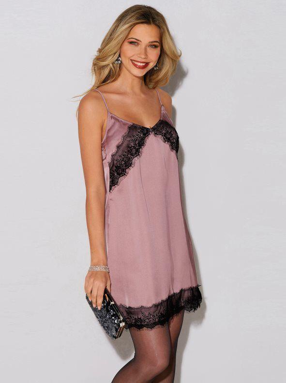 vestido lencero rosa venca
