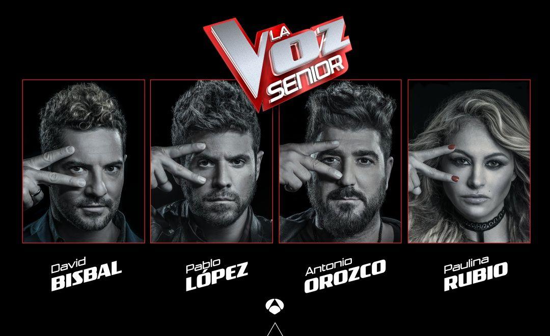 David Bisbal, Pablo Lopez, Antonio Orozco y Paulina Rubio, los coaches de la voz senior