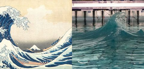 Water, Wave, Water resources, Aqua, Wind wave, Illustration, Line, Painting, Sea, Pier,