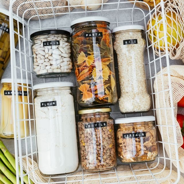 groceries in glass jars with labels