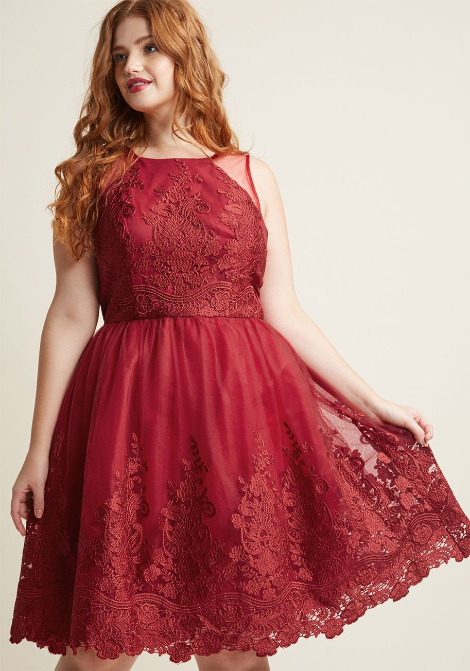Short Red Dress Curvy Lace