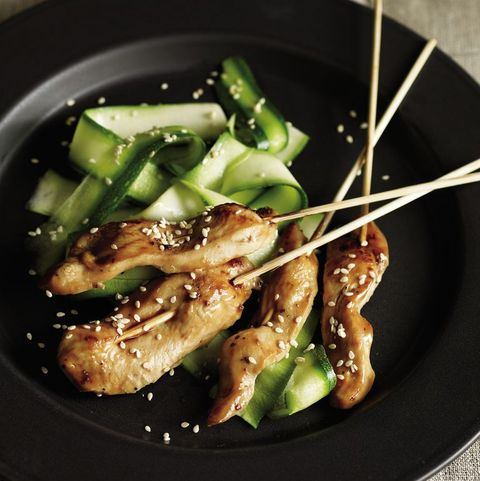 healthy zucchini recipes: lacquered chicken sate with zucchini salad