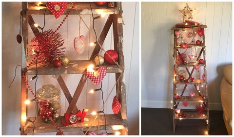 christmas ladder shelf - Christmas Tree Ladder Decoration