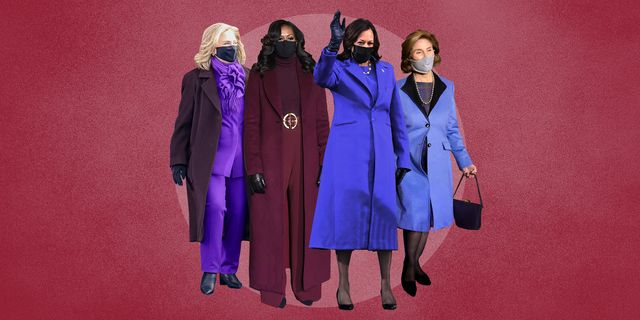 hillary clinton, michelle obama, kamala harris and laura bush in purple at joe biden's inauguration