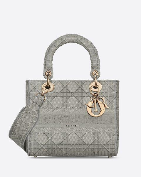 2020 年度熱賣包款推薦 lady dior 石灰色籐格紋刺繡帆布中型提包