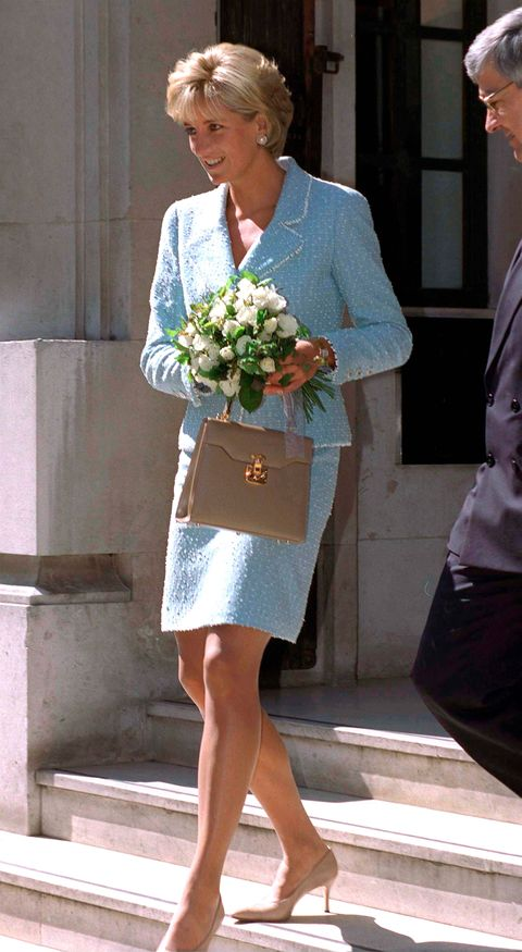 lady di with blue tweed two-piece set